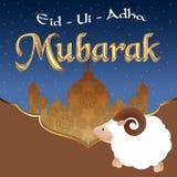 Diseño de la tarjeta de felicitación del vector con las ovejas lindas del bebé para la comunidad musulmán, festival del sacrifici Imagenes de archivo