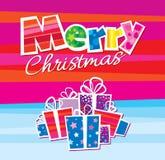 Diseño de la tarjeta de felicitación del vector de la Navidad Imágenes de archivo libres de regalías