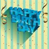 Diseño de la tarjeta de felicitación del vector del feliz cumpleaños para las invitaciones y la celebración Imagen de archivo