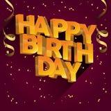 Diseño de la tarjeta de felicitación del vector del feliz cumpleaños para las invitaciones y la celebración Imágenes de archivo libres de regalías