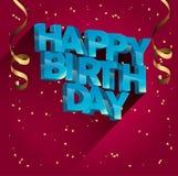 Diseño de la tarjeta de felicitación del vector del feliz cumpleaños para las invitaciones y la celebración Foto de archivo