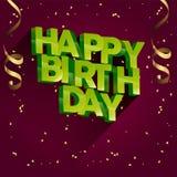 Diseño de la tarjeta de felicitación del vector del feliz cumpleaños para las invitaciones y la celebración Imagen de archivo libre de regalías
