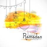 Diseño de la tarjeta de felicitación para el mes santo Ramadan Kareem de los musulmanes foto de archivo libre de regalías