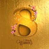 Diseño de la tarjeta de felicitación para la celebración del día de las mujeres ilustración del vector