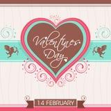 Diseño de la tarjeta de felicitación para la celebración del día de tarjeta del día de San Valentín Imagen de archivo libre de regalías