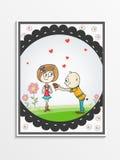 Diseño de la tarjeta de felicitación para la celebración feliz del día de tarjetas del día de San Valentín Imágenes de archivo libres de regalías