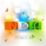 Diseño de la tarjeta de felicitación para la celebración india del día de la república Imagenes de archivo
