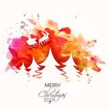 Diseño de la tarjeta de felicitación para la Feliz Navidad Imagen de archivo