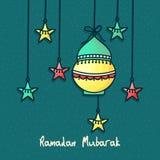 Diseño de la tarjeta de felicitación para Ramadan Mubarak Imagenes de archivo