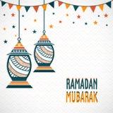 Diseño de la tarjeta de felicitación para Ramadan Mubarak Foto de archivo libre de regalías