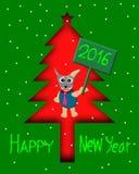 Diseño de la tarjeta de felicitación, perro de la Feliz Año Nuevo en árbol de navidad Imagen de archivo libre de regalías