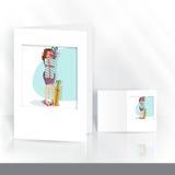 Diseño de la tarjeta de felicitación, plantilla. stock de ilustración