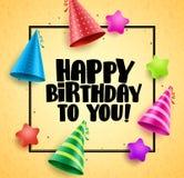 Diseño de la tarjeta de felicitaciones del vector del feliz cumpleaños con el huésped Fotografía de archivo libre de regalías
