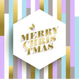 Diseño de la tarjeta de Navidad del oro en fondo geométrico Foto de archivo