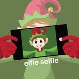Diseño de la tarjeta de Navidad del selfie de Elfie stock de ilustración