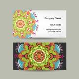 Diseño de la tarjeta de visita Fondo adornado Imágenes de archivo libres de regalías