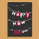 Diseño de la tarjeta de felicitación de la Feliz Año Nuevo con caída que pone letras creativa stock de ilustración
