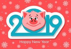 Diseño de la tarjeta de felicitación de la Feliz Año Nuevo con la cara de los cerdos de la historieta libre illustration
