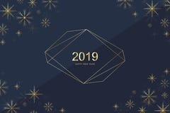 Diseño 2019 de la tarjeta de felicitación de la Feliz Navidad y de la Feliz Año Nuevo con los copos de nieve de oro Feliz Año Nue ilustración del vector