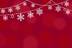 Diseño de la tarjeta de felicitación de la Navidad con la frontera de los diversos copos de nieve y estrellas blancos colgantes e ilustración del vector