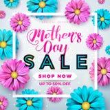 Diseño de la tarjeta de felicitación de la venta del día de madres con la flor y elementos tipográficos en fondo abstracto Celebr stock de ilustración