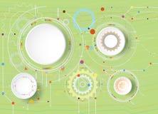 Diseño de la tecnología colorido en la ingeniería de la rueda de la placa de circuito y de engranaje Fotografía de archivo
