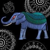 Diseño de la tela del elefante del bordado libre illustration