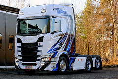 Diseño de la tela a rayas del camión de NextGen Scania S500 Foto de archivo libre de regalías