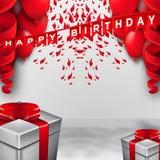 Diseño de la tipografía de la celebración del feliz cumpleaños para la tarjeta, el cartel o la bandera de felicitación con los gl stock de ilustración