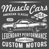 Diseño de la tipografía de la camiseta, vector retro del coche, imprimiendo gráficos, ejemplo tipográfico del vector, diseño gráf libre illustration
