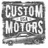 Diseño de la tipografía de la camiseta, vector retro del coche, imprimiendo gráficos, ejemplo tipográfico del vector, diseño gráf Foto de archivo