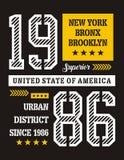 Diseño de la tipografía de Nueva York, imagen del vector Fotos de archivo libres de regalías