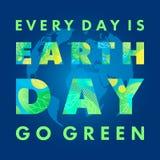 Diseño de la tipografía del Día de la Tierra stock de ilustración