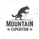 Diseño de la tipografía del vintage con el lobo en la silueta del esquí Foto de archivo libre de regalías