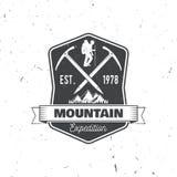 Diseño de la tipografía del vintage con la silueta del hacha y de la montaña de hielo Fotos de archivo