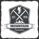 Diseño de la tipografía del vintage con la silueta del hacha y de la montaña de hielo Imagen de archivo libre de regalías