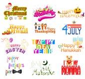 Diseño de la tipografía por días de fiesta Foto de archivo libre de regalías