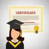 Diseño de la universidad ejemplo de la graduación y de la educación Imagen de archivo libre de regalías