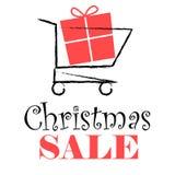 Diseño de la venta de la Navidad con el carro de la compra ilustración del vector