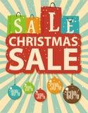 Diseño de la venta de la Navidad con las bolas del panier y de la Navidad stock de ilustración