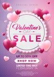 Diseño de la venta del día de tarjetas del día de San Valentín con el globo rojo del corazón en fondo rosado Ejemplo de la oferta stock de ilustración