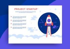 Diseño de lanzamiento de la presentación del web del proyecto con Rocket Ship libre illustration
