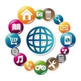Diseño de las aplicaciones móviles del comercio electrónico y del mercado Imagen de archivo
