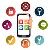 Diseño de las aplicaciones móviles del comercio electrónico y del mercado Foto de archivo libre de regalías
