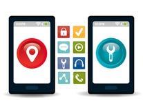 Diseño de las aplicaciones móviles del comercio electrónico y del mercado Imagenes de archivo