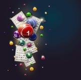 Diseño de las bolas y de tarjetas del bingo en un fondo azul Fotografía de archivo libre de regalías