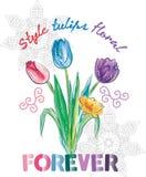 Diseño de las camisetas de los tulipanes del estilo Foto de archivo