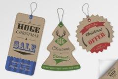 Diseño de las etiquetas de la venta de la Navidad del estilo del vintage Imagen de archivo libre de regalías