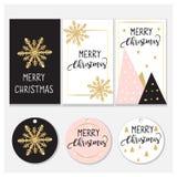Diseño de las etiquetas y de tarjetas de la Navidad Diseño elegante: Rosa, oro y negro Diseño del vector foto de archivo libre de regalías