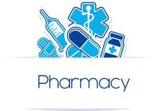 Diseño de las medicinas de la farmacia Fotografía de archivo libre de regalías